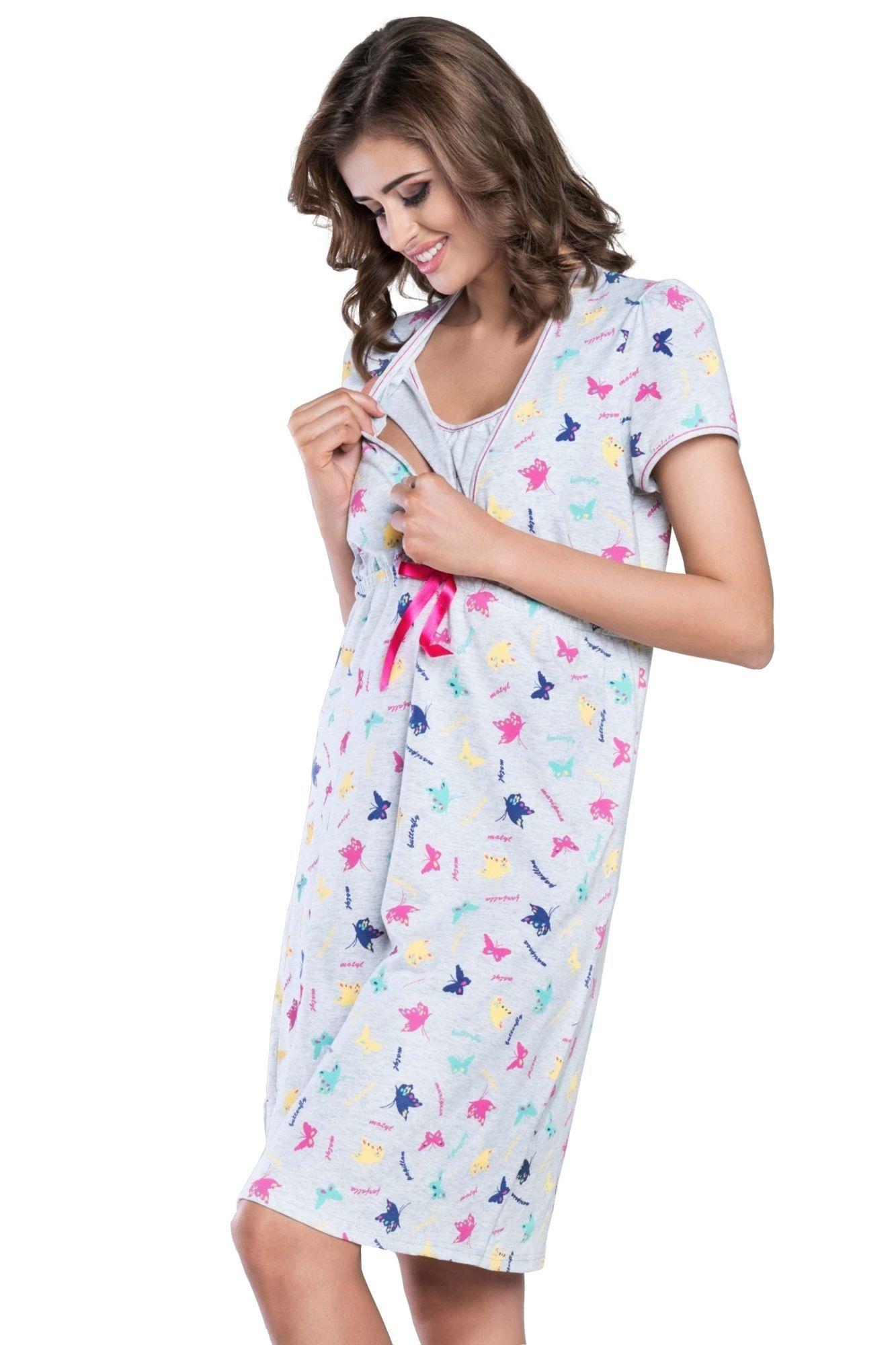 d080f453c7ab Bavlněná těhotenská a kojící noční košile Mariposa šedá