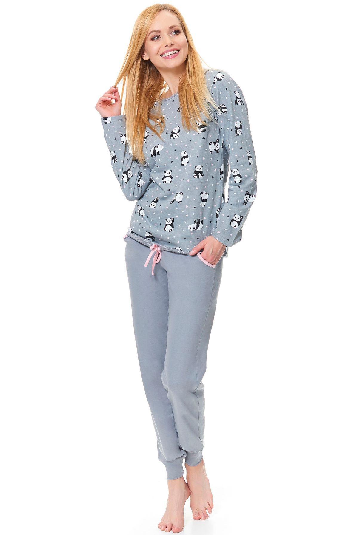 5f02451a5025 Dámské bavlněné pyžamo Funny šedé panda s kapsami a dlouhými rukávy