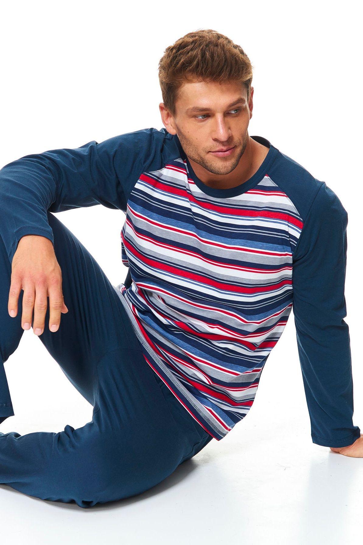 2999e7164 Pánske bavlnené pyžamo Henry tmavo modré s prúžkami - ELEGANT.sk