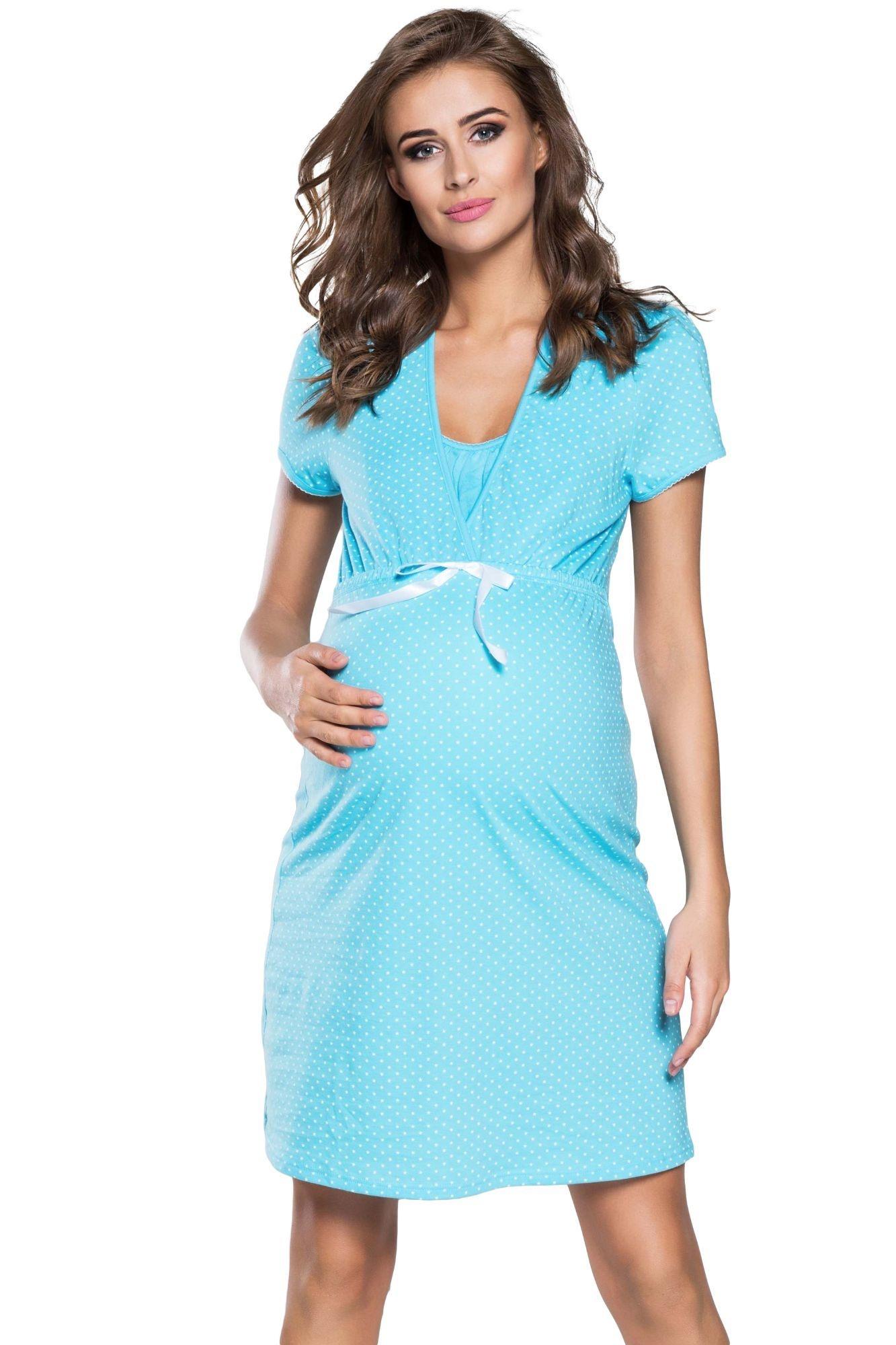 abc9e2759c64 Tehotenská a dojčiaca nočná košeľa Alena modrá - ELEGANT.sk
