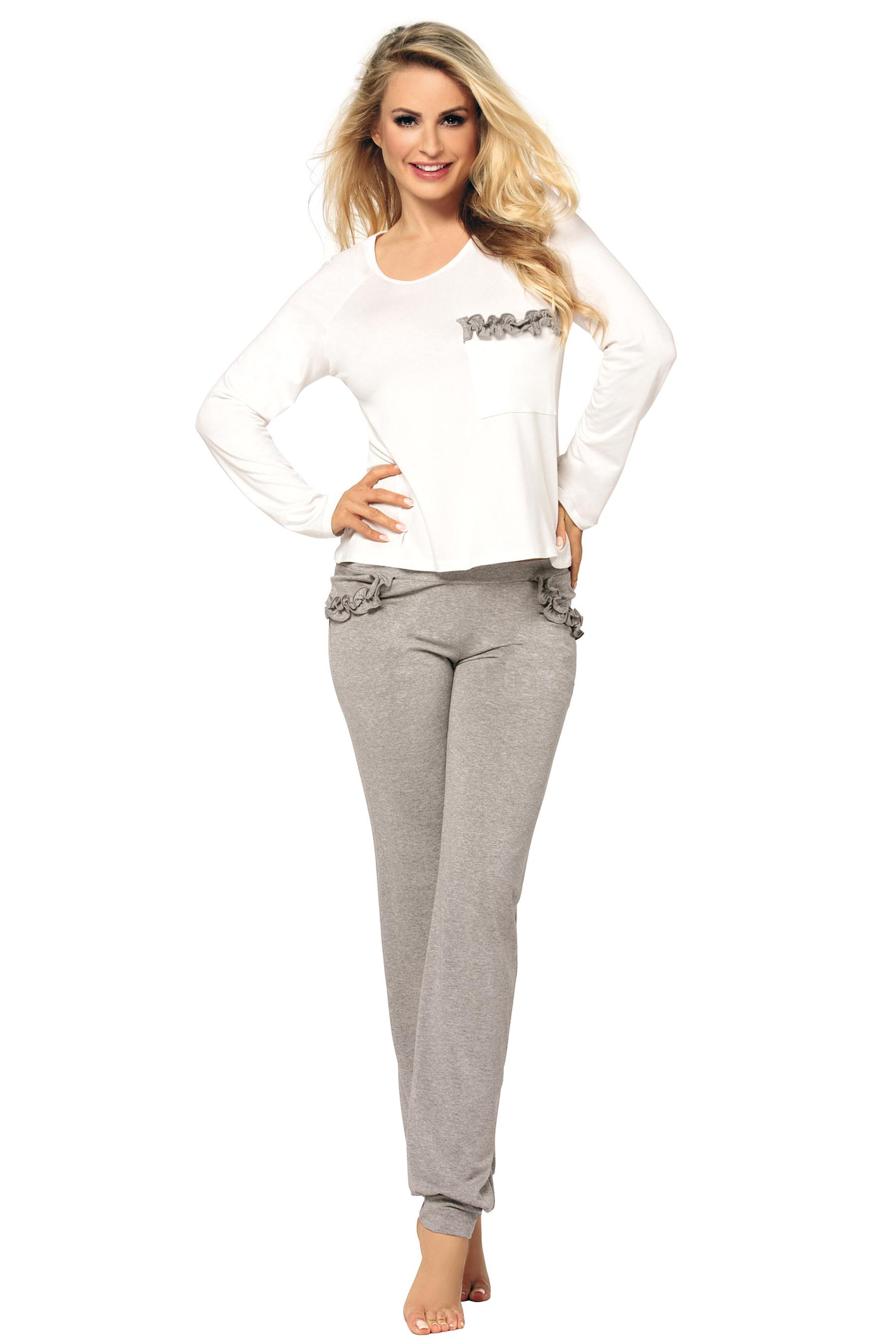 24a8d9598b04 Dámské bílošedé pyžamo Malwine dlouhé z viskózy