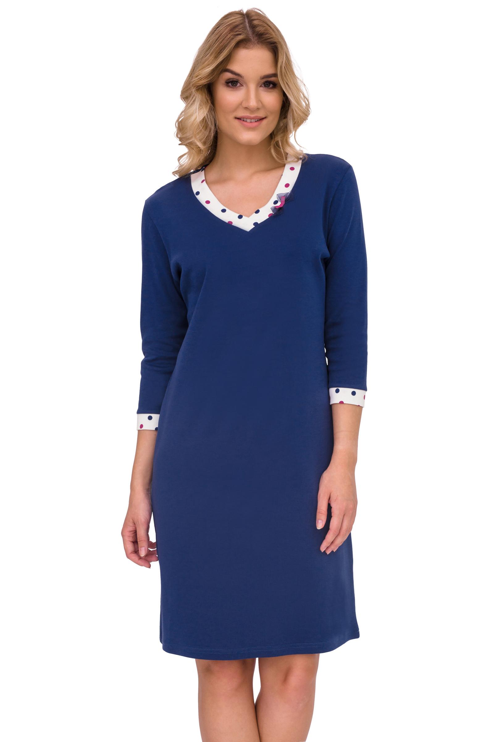 Luxusná dámska nočná košeľa Klára modrá bodky - ELEGANT.sk 526cb138dc8