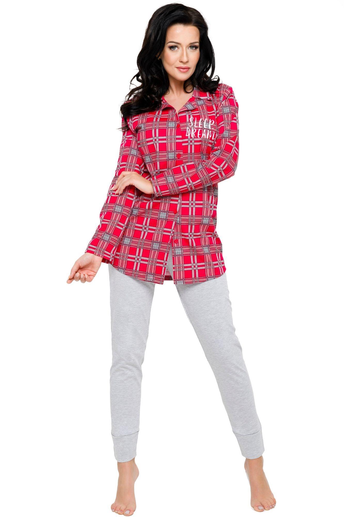 1d0aa5a947c1 Dámské bavlněné pyžamo Dalia červené káro s dlouhými rukávy