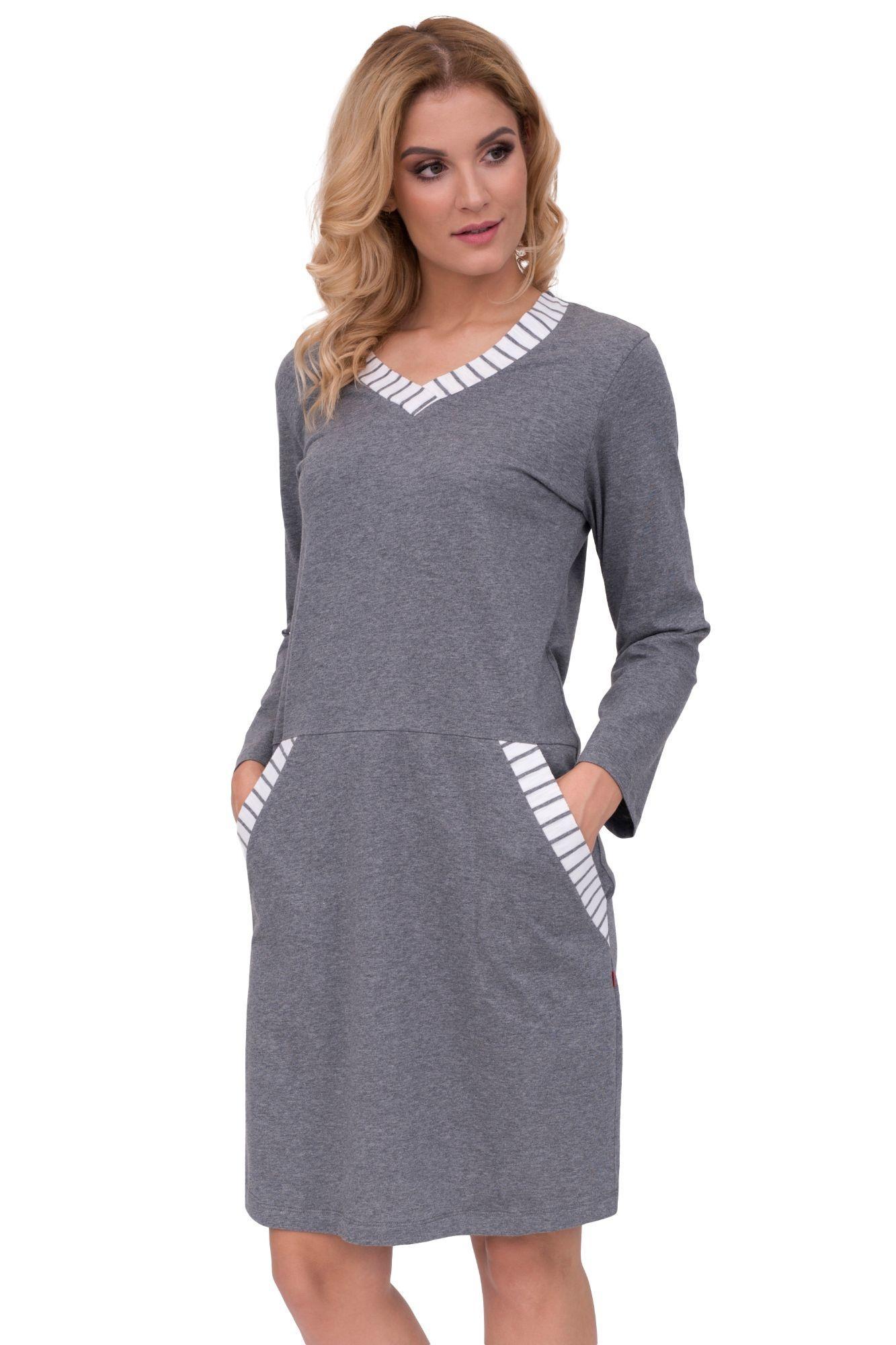 ef9159785 Luxusná nočná košeľa s vreckami Lucie sivá - ELEGANT.sk