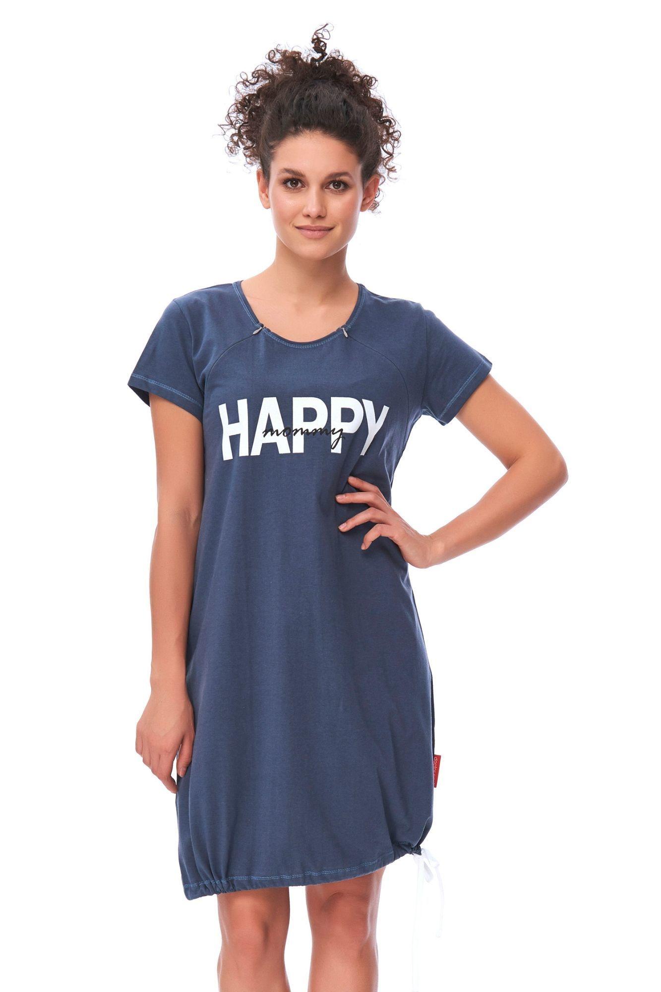3e46e0bc791c Materská nočná košeľa Happy mommy tmavo modrá - ELEGANT.sk