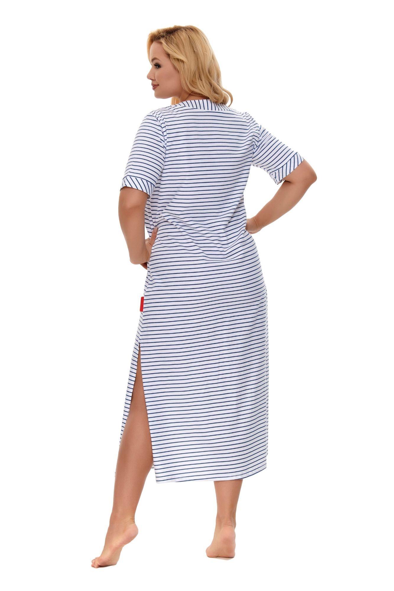 f16044ec29dc Dlhá nočná košeľa Nina bielo modré pruhy - ELEGANT.sk