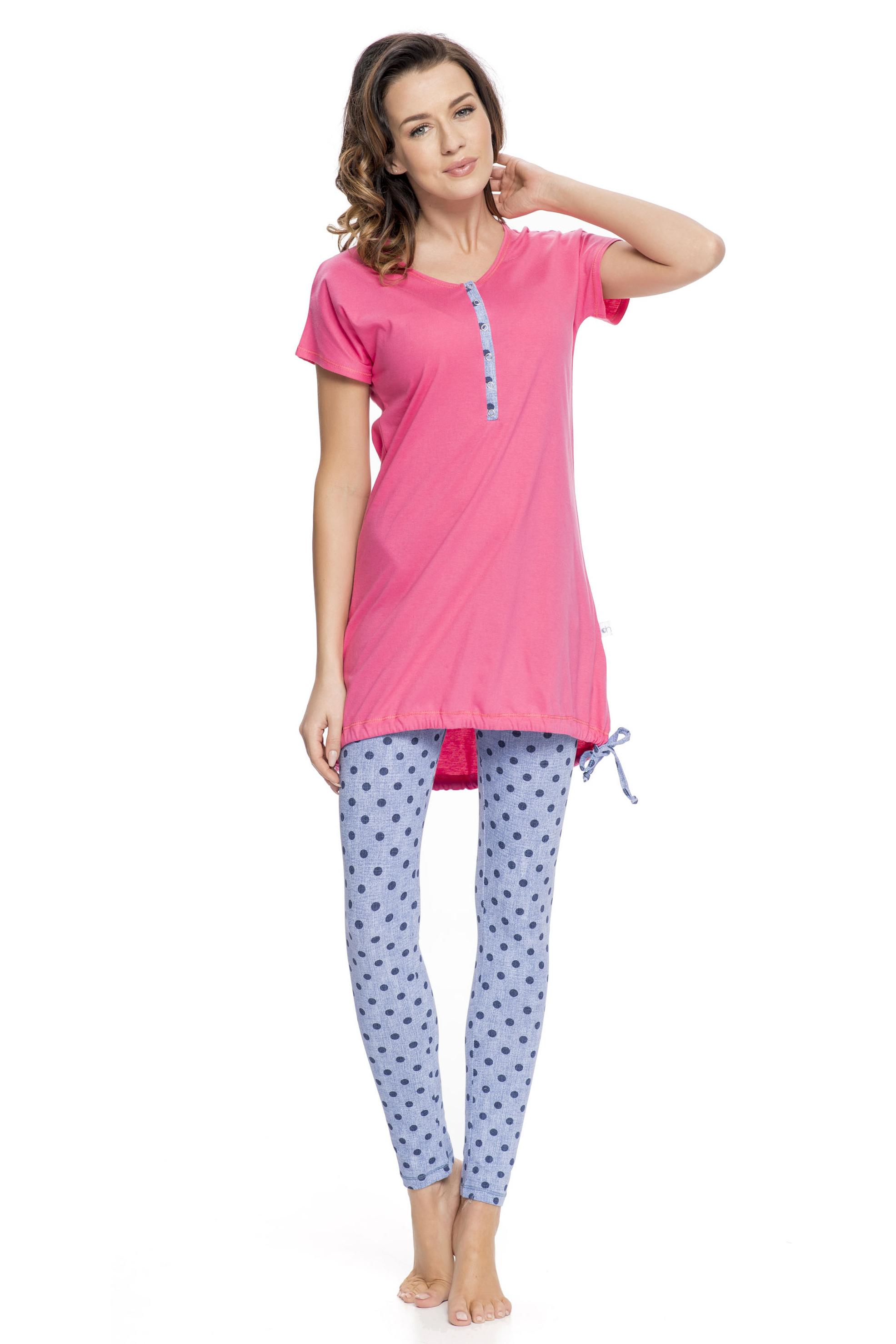 592c1274fe38 Dámské růžové bavlněné pyžamo Alaine s modrými legínami
