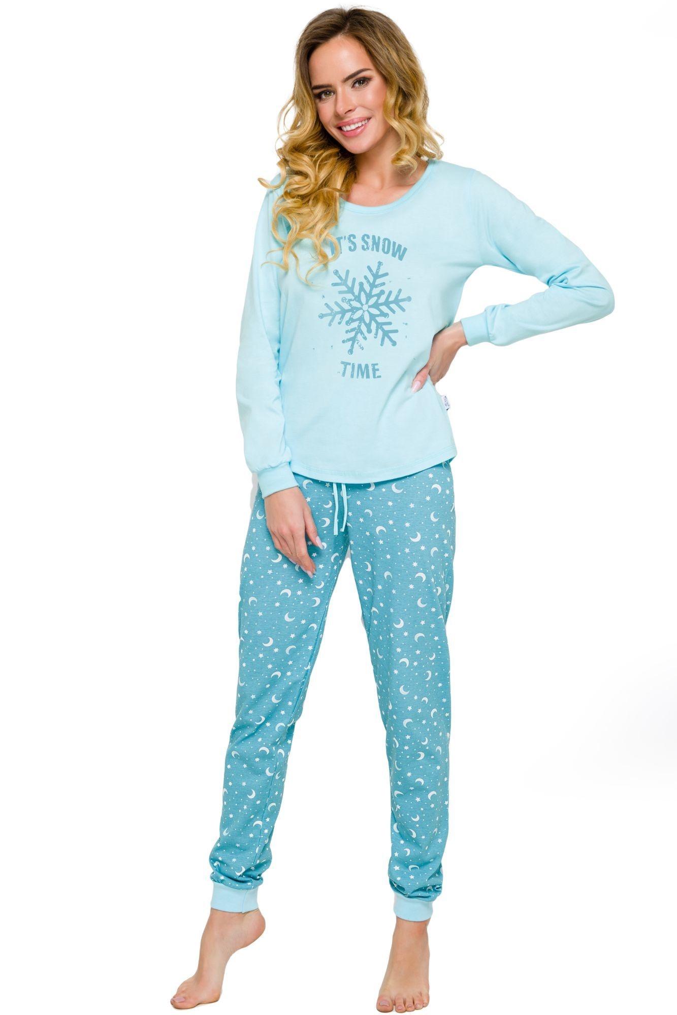 573a913557c1 Dámské bavlněné pyžamo Nora tyrkysové s potiskem a dlouhými rukávy