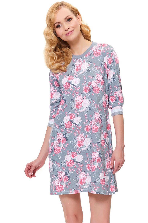 eb220e315914 Dámska nočná košeľa Blossom sivá s kvetami - ELEGANT.sk