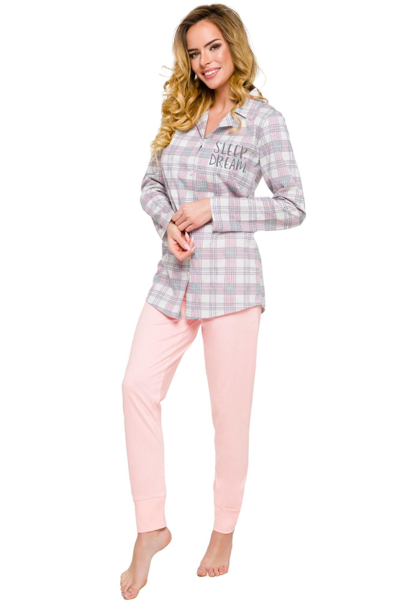 352eece81148 Bavlněné dámské pyžamo Dalia béžové káro s dlouhými rukávy