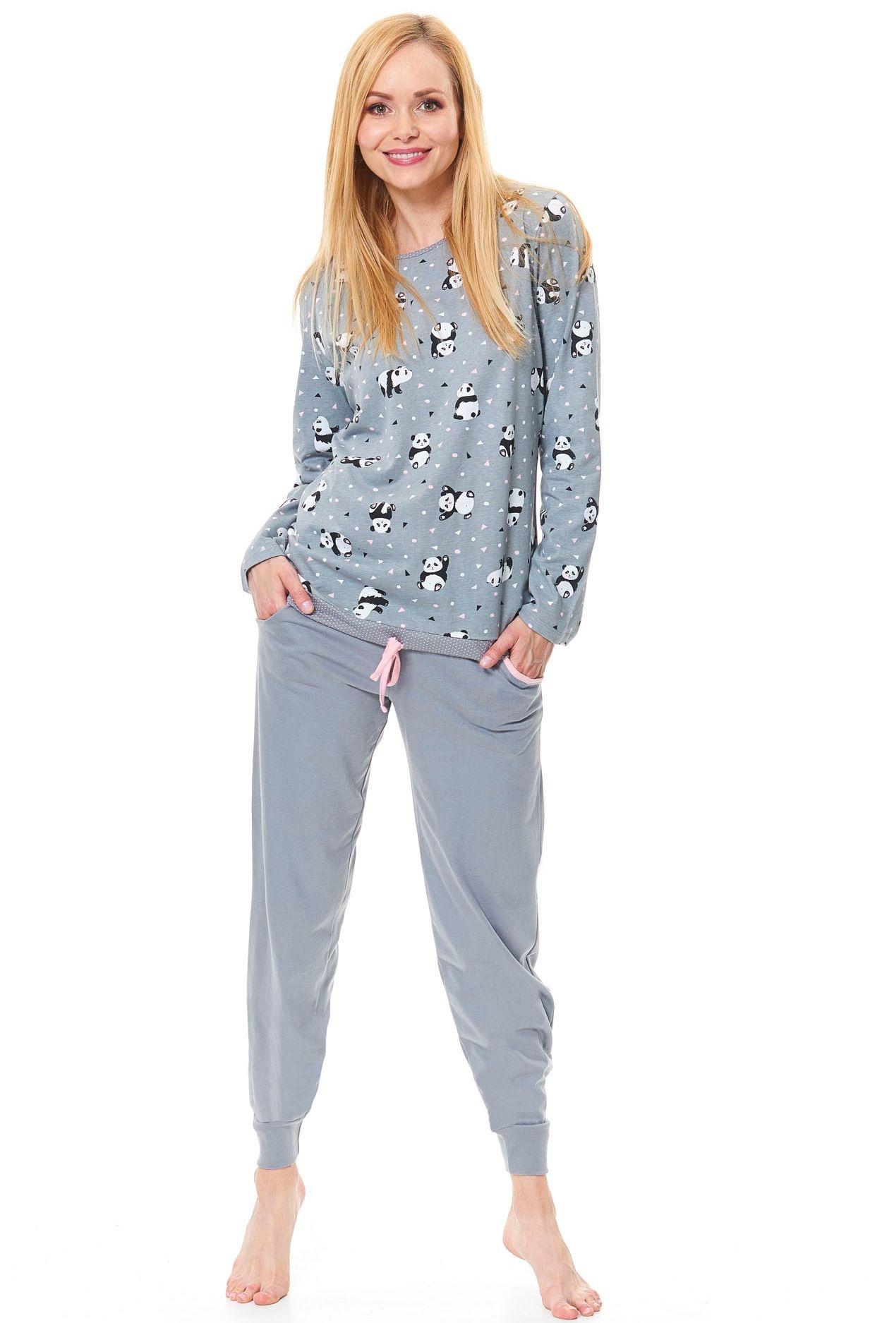 578c4182d627 Dámske bavlnené sivé pyžamo Funny panda - ELEGANT.sk