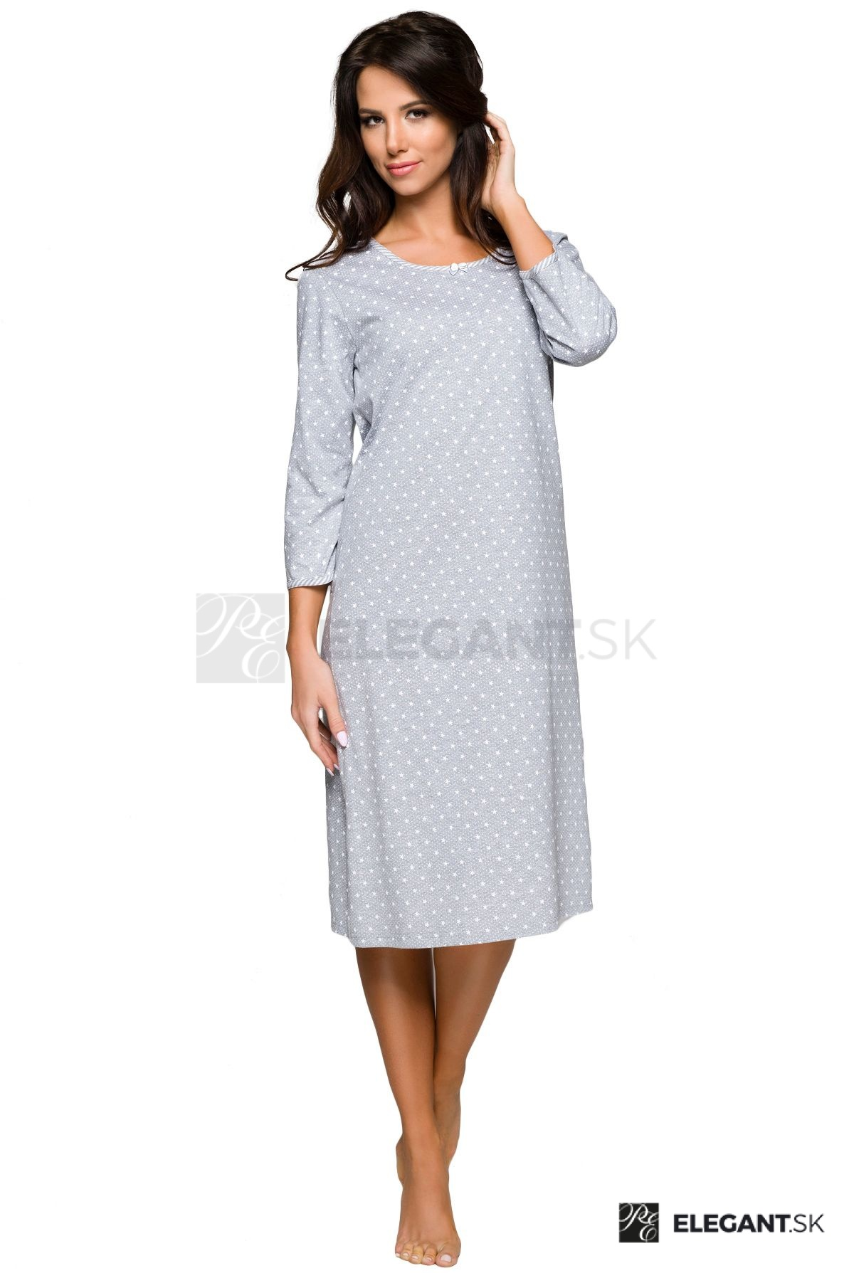 0c2dcc1e404b Nočná košeľa Ilona sivá s hviezdičkami - ELEGANT.sk