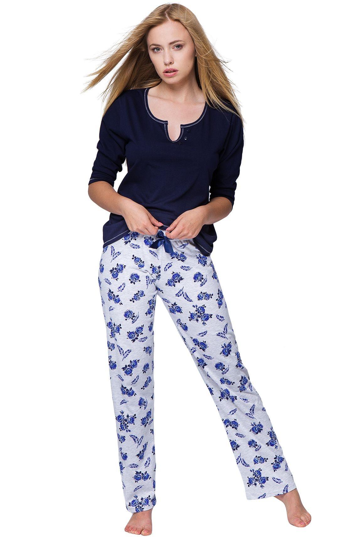 7142eebb59d0 Dámské pyžamo Rosalie modré růže s květinovým vzorem
