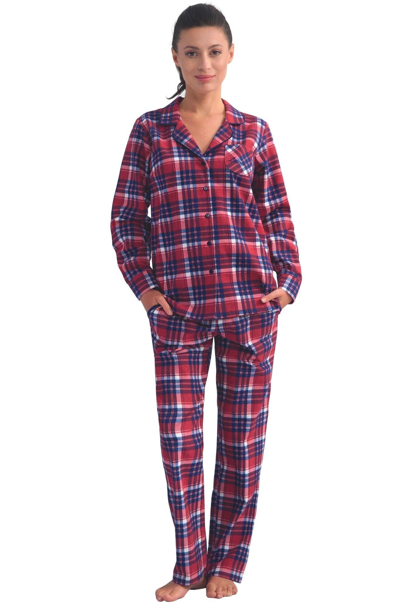 6632625193f5 Dámské flanelové pyžamo s dlouhými rukávy Dora vínové káro s límečkem a  kapsami